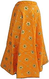 SNEH Women's Dupion Silk Heavy Gota Patti Work Skirt (Orange,Free Size)