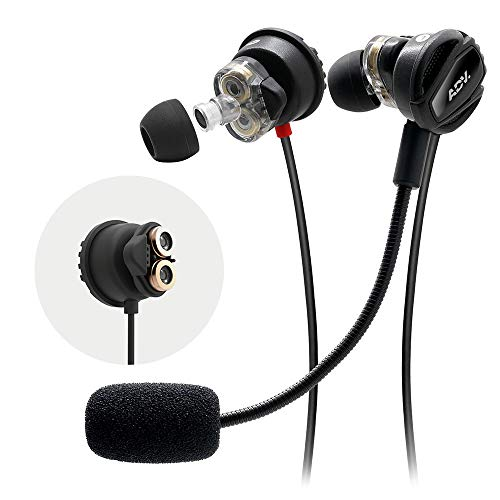 ADV. NSMO JR 2-Driver Gaming Earbuds Headset with Dual Mic [Detachable & Built-in] and Volume Control for Mobile Gaming, Nintendo Switch, Xbox One, PS4, Pro, PC