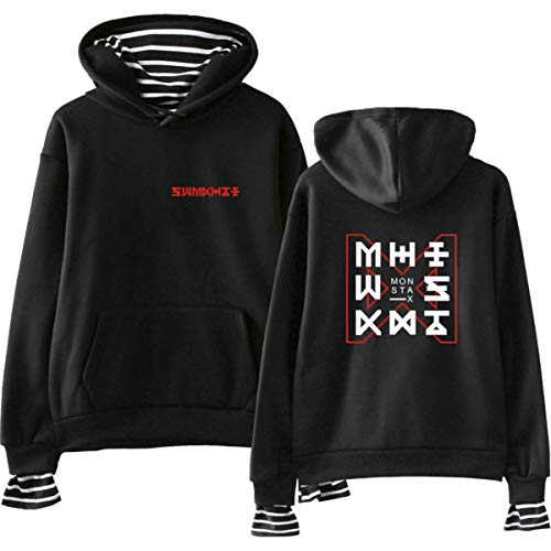 Monsta X Fake Two Pieces Kapuzenpullover Hoodies Langärmeliges Freizeit Sweatshirt Pullover Tops Shownu I.M Joo Heon Kihyun Hyung Won (1,L)