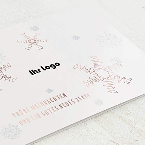 sendmoments Firmen-Weihnachtskarten im Set mit Veredelung in Roségold, Schneeflocken, personalisiert mit Ihrem Firmenlogo & -Text, 12 Klappkarten, optional Design-Umschläge
