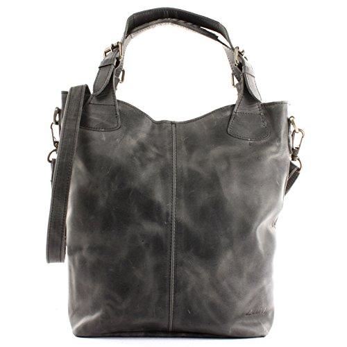 LECONI Henkeltasche Echtleder Vintage-Look Damentasche für Shopping Handtasche für Damen Leder Shopper mit Trageriemen Beuteltasche für die Arbeit, Büro oder Alltag 34x35x10cm grau LE0054-wax