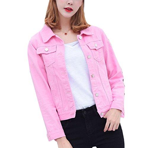 Mode Beiläufig Damen Mantel Jacke Denim Jacket Trench Parka Jacken Einfarbig Lange Ärmel Jeans-Jacke mit Patches (S, Rosa)