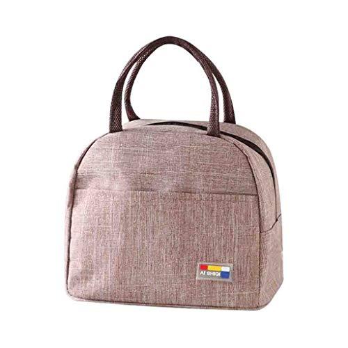 Sac à main en toile, boîte à lunch isotherme sac isotherme souple imperméable à l'eau thermique école de travail pique-nique Bento, sac à lunch (café)