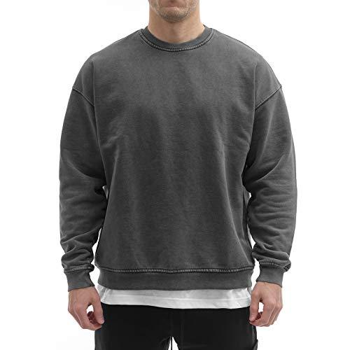 Sixlab Vintage Oversize Hoodie Herren Sweater Kapuzen Pullover 500 GSM Baumwolle - French Terry (Vintage Black Sweater, XXL)