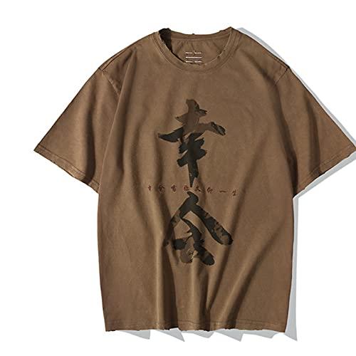 WYLYSD Camiseta Bordada con Caracteres Chinos Antiguos Y Retro Camiseta De Manga Corta Estampada Suelta De Los Amantes para Hombres Y Mujeres -Marrón