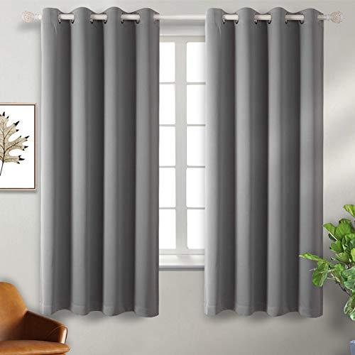BGment Vorhang blickdichte Vorhänge mit Ösen 137 cm x 117 cm (H x B), Grau 2 Stücke Verdunkelungsvorhänge Isolierung, Dekorative und Undurchsichtig, Schutz der Privatsphäre für Zimmer