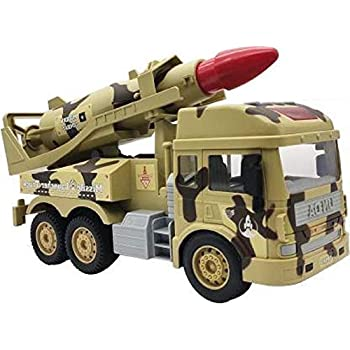 AdiChai Friction Powered Modern Combat Army Tank Missile Launcher with Light and Sound Pull Back Missile Push & Go Military Vehicle Pretend Play Toy for Kids