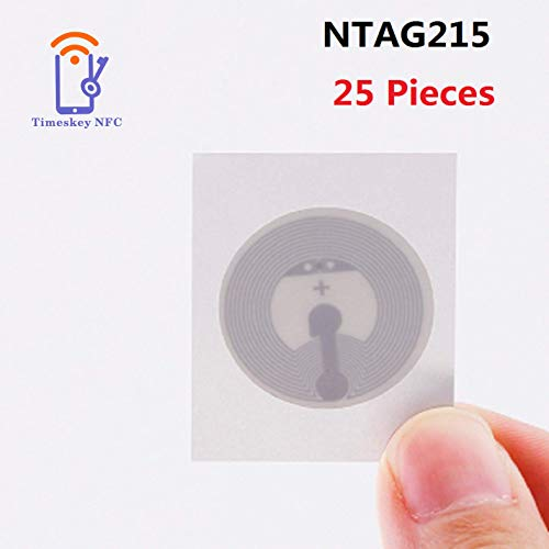 Timeskey NFC NTAG215 NFC Stickers NFC Tags 25mm White Blank NFC Circular Sticker,Writable and Programmable,Compatible with TagMo Amiibo and All Other NFC Enabled Devices, 25 Pack Round