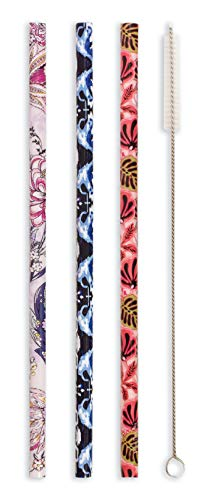 Vera Bradley Colorful Reusable Straw Set with Storage Pouch & Cleaning Brush, Includes 3 BPA-Free Plastic Drinking Straws, Spring 21 Medley