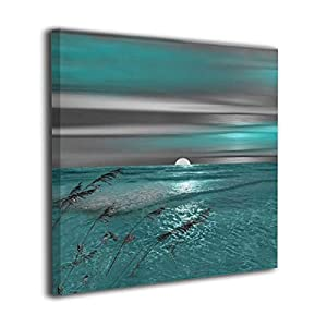 Okoart Canvas Wall Art Prints Teal Grey Coastal Be...