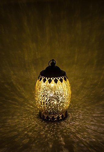 Home&Decorations H&D Original-Glas Laterne mit metalabdeckung LED Antik Gold