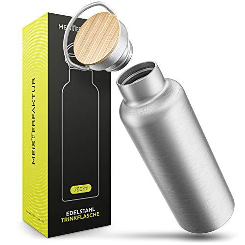 MEISTERFAKTUR Thermo Trinkflasche Edelstahl [750ml] - Über 10 Stunden heiße Thermosflasche - Nachhaltige Wasserflasche mit Bambusdeckel - Ideale Trinkflasche für kohlensäurehaltige Getränke