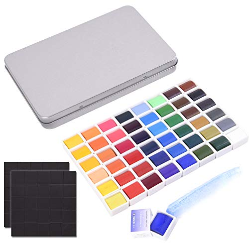 Watercolor Tin Palette Paint Case with 54Pcs White Plastic Empty Half Pans Carrying Magnetic Stripe, Artist Paints Pan Kits for DIY Watercolor Oils or Acrylics Painting Starry Night