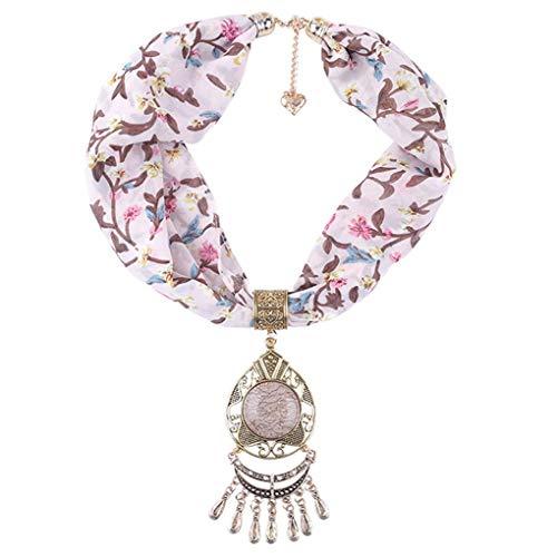 Dorical Damen Schal Halsketten, Schal Perlen Halstuch mit Schmuck/Halskette Modeschmuck Anhänger Schals & Tücher Jahrgang böhmischen Stil mit Schnalle Kette Quasten Schal Halskette(Z01-N,One size)