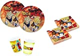 Dragon Ball Goku z e Vegeta Coordinato ADDOBBI TAVOLA Festa A TEMA PER 16 BAMBINI KIT(16 PIATTI,16 BICCHIERI,20 TOVAGLIOLI)