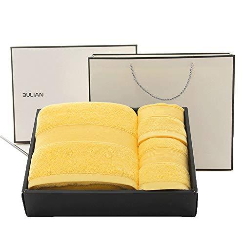 HONGNA High-End-Geschenk-Box Badetuch Quadrat Handtuch Und Handtuch Dreiteilige Multicolor 885g A-Klasse Gekämmte Baumwolle (Color : Yellow)