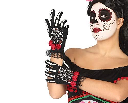 Atosa-39719 Atosa-39719-Accesorio-Guantes Halloween Esqueleto Rosas Rojas, Color Negro (39719)