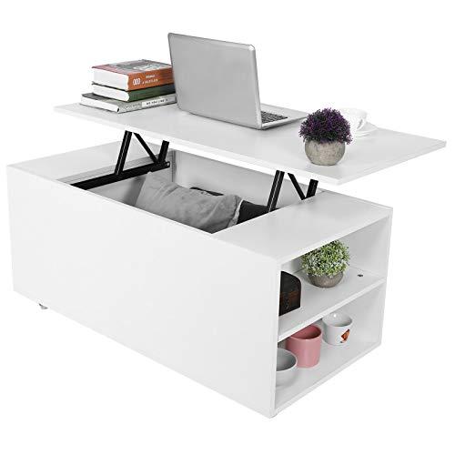 AYNEFY Tavolino da salotto bianco regolabile in altezza, con 4 aperture e 1 spazio nascosto, moderno tavolino da caffè per soggiorno, balcone, corridoio, 100 x 50 x 57 cm