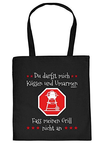 Stofftasche mit Grill Motiv - Du darfst Mich kssen und umarmen. Fass Meinen Grill Nicht an - Einkaufstasche, Geschenk, Umhngetasche - schwarz
