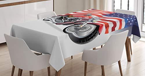 ABAKUHAUS Varonil Mantele, Moto y la Bandera de EE.UU, Fácil de Limpiar Colores Firmes y Durables Lavable Personalizado, 140 x 200 cm, Multicolor