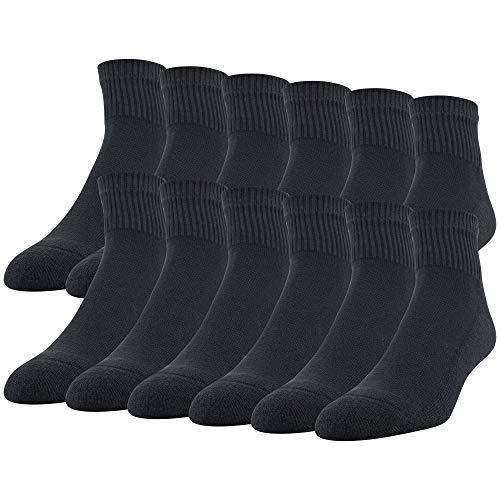 Gildan Men's Stretch Cotton Ankle Socks, 12-Pack, black, Shoe Size: 6-12