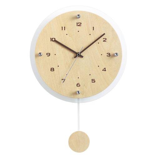 NOA (ノア) 電波時計 ウォールクロック アンティール 振り子時計 W-473 N ナチュラル