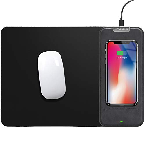 """Mouse Pad Desk Wireless Charger - 12.5"""" x 8.6"""" 10W Office Desktop Qi Fast Wireless Charging Waterproof PU Leather Large Mouse Pad Mouse Mat for iPhone 11 Pro/Xs Max/XR Samsung Galaxy S10/S9/S8-Black"""