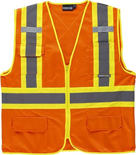 Work Team Chaleco Alta Visibilidad, Multibolsillos, Cintas Reflectantes bicolores Verticales y horizontales. Hombre Naranja XL
