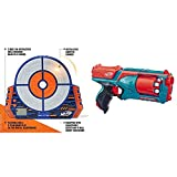 NERF Elite Digital Target & Strongarm N-Strike Elite Toy Blaster with Rotating Barrel, Slam Fire, and 6 Official Elite Darts for Kids, Teens, and Adults (Amazon Exclusive)