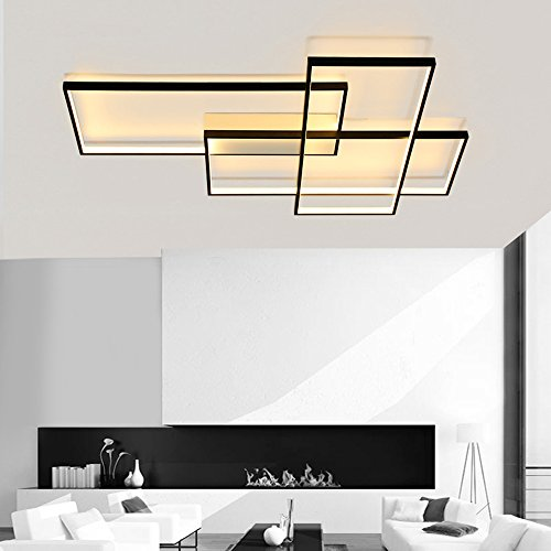 LightInTheBox Smart WiFi Ceiling Light Flush Mount Chandeliers 8000LM 90W Wall Lamp Lighting Fixture Smartphone Control Compatible with Amazon Alexa and Google Home (Black)