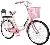 Mnjin Vélo de Loisir en Plein air, 24 Pouces avec siège arrière pour Panier, Sac de vélo...