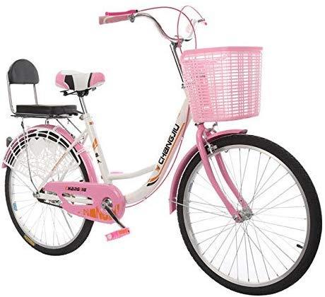 WJSW Freizeit Fahrrad, 24 Zoll mit Korb Rücksitz Damen lässig Klassische Fahrrad aus Kohlenstoffstahl Doppel-V-Bremse Multicolor Auswahl, Pink