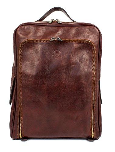 Time Resistance Unisex Leder Rucksack Damen und Herren Handgemachter Laptop Rucksack für den Täglichen Gebrauch im Vintage Design Rucksack Klein Laptopgröße bis zu 33 Zentimeter Dunkelbraun