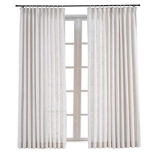 ChadMade Pinch Pleat Polyester Linen Drape Room Darkening Curtain Sliding Glass Door Living Room, 52Wx84L Inches (1 Panel), Liz Collection
