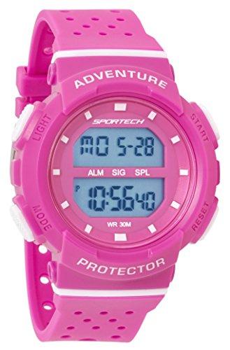 Sportech Damen | Digital Quarz Klassische Wasserdichte Sportuhr Pink & Weiß mit Resin-Armband | SP12702