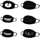 Firoya Tela de algodón estampada para protección de la salud, apta para adultos, niñas, niños, color negro (6 dibujos animados)