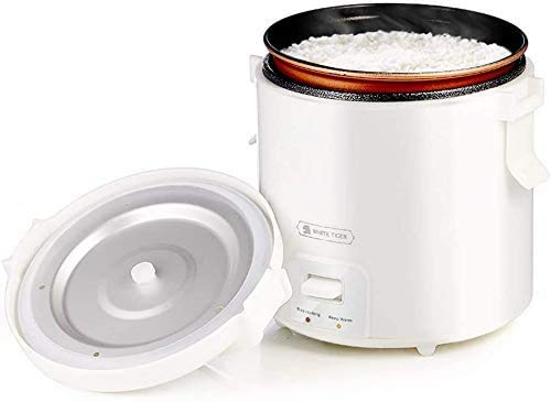 1,0 l Mini Reiskocher, WHITE TIGER Tragbarer Reisedampfer Klein, 15 Minuten schnelles Kochen, herausnehmbarer Antihaft-Topf, warm halten, Geeignet für 1-2 Personen - zum Kochen von Suppe, Reis