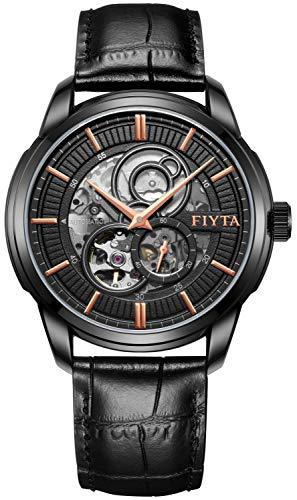 FIYTA Classic GA802075.BSB - Orologio da uomo automatico, con cinturino in pelle nera e apertura