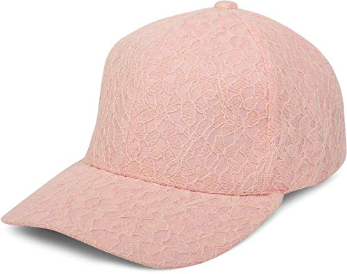 styleBREAKER 6-Panel Cap mit All Over Spitze, Baseball Cap, verstellbar, Damen 04023052, Farbe:Rose