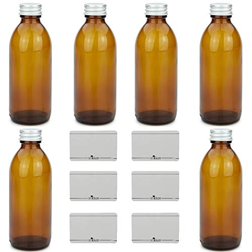 mikken Frasco de farmacia de cristal, tapón de rosca de aluminio, marrón, 200 ml, 12 unidades