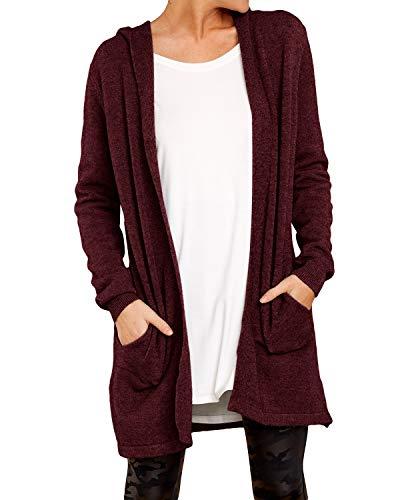 YOINS Damen Strickjacke Casual Cardigan Mantel Strickpullover Langarm Coat Jacke Winterjacke mit Kapuzen Kapuzen-Weinrot S