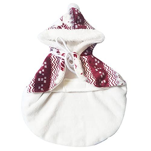 Bodhi2000 - Vestiti per animali domestici, cappottino per cuccioli, vestiti per cani e cani con stampa ispessimento caldo invernale per cani e gatti, abbigliamento per Natale, colore: rosso
