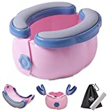 2-in-1 Go Potty for Travel, Portable Folding Compact Toilet Seat,Potty Training Toilet Chairs for Toddler Boys & Girls with Storage Bag and Potty Liners by BlueSnail (Blue+Pink)