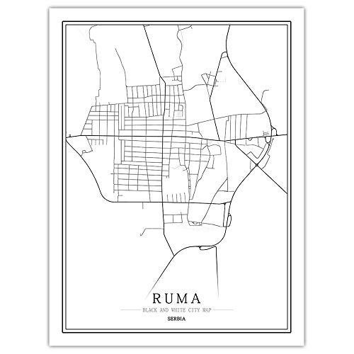 SLYBDA Minimalistyczna linia artystyczne wydruki linia sztuka ścienna plakat obraz wodoodporny czarny biały Serbia Ruma mapa miasta estetyczny rysunek obrazy do sypialni salonu dekoracja 70 x 100 cm