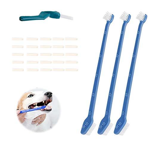 Spazzolino da denti per cani, spazzolino da denti a doppia estremità, per animali domestici, per animali domestici, per cani di taglia piccola, media e grande, per la pulizia della bocca (28 pezzi)