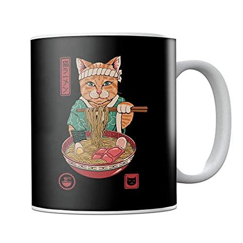 Taza de café japonesa Maneki Neko Lucky Charm Ramen con diseño de Ramen y gato, taza de té, regalo de cumpleaños