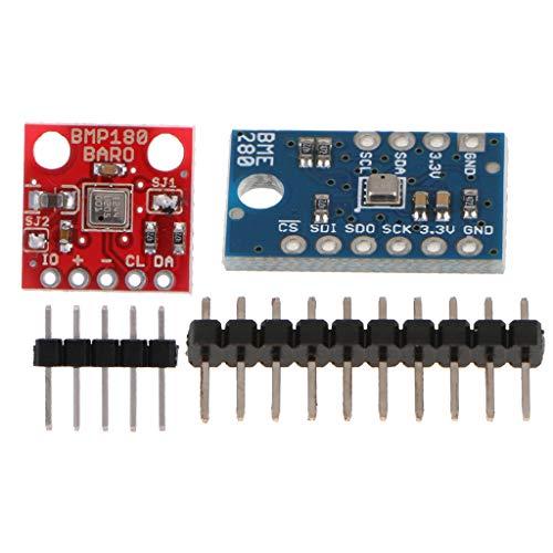 F Fityle Paquete de 2 Módulos de Sensor de Presión de Aire Barométrico de Humedad de Temperatura Digital BME280 BMP180