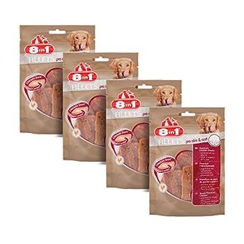 8in1 Fillet Pro Skin & Coat Friandises pour chiens adultes et seniors de grandes races – Pelage Sain et Brillant - Au poulet – Lot de 4 x 80g