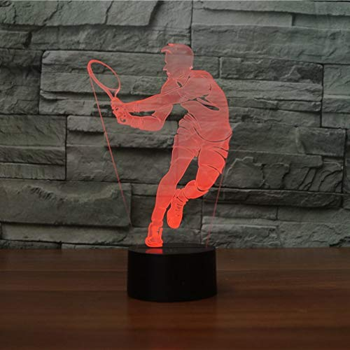 3D Lámpara óptico Illusions Luz Nocturna, shsyue La lámpara de escritorio de la mesa táctil de Air Plane 3D con 7 colores LED 3D embroma la lámpara por USB o con pilas (Tenis masculino)