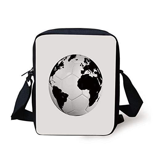 Sports Decor,Soccer Ball with World Map Football Cup 2010 Entertaining Professional Game, Print Kids Crossbody Messenger Bag Purse